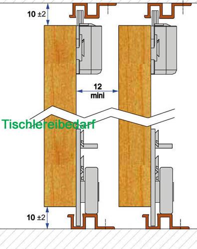 schiebet rbeschlag pico 26b 200cm weiss set f r 2 t ren auf 2 schienen ebay. Black Bedroom Furniture Sets. Home Design Ideas