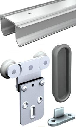 Schiebetürbeschlag für schranktüren  Schiebetürbeschlag Tubel 38 / 200 cm für 3 Schranktüren auf einer ...