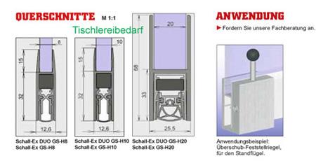 Athmer Glastürdichtung Schall-Ex Duo GS-8 für 8 mm Glas 833 mm 1-408 silber elox