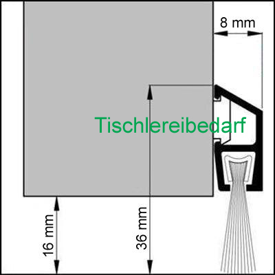 ids 36 deluxe b rstendichtung 1m silber eloxiert kaufen bei. Black Bedroom Furniture Sets. Home Design Ideas
